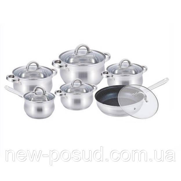 Набор посуды из нержавеющей стали 12 предметов Benson BN-212