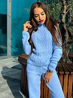Теплый вязаный костюм свитер под горло и прямые брюки, фото 1