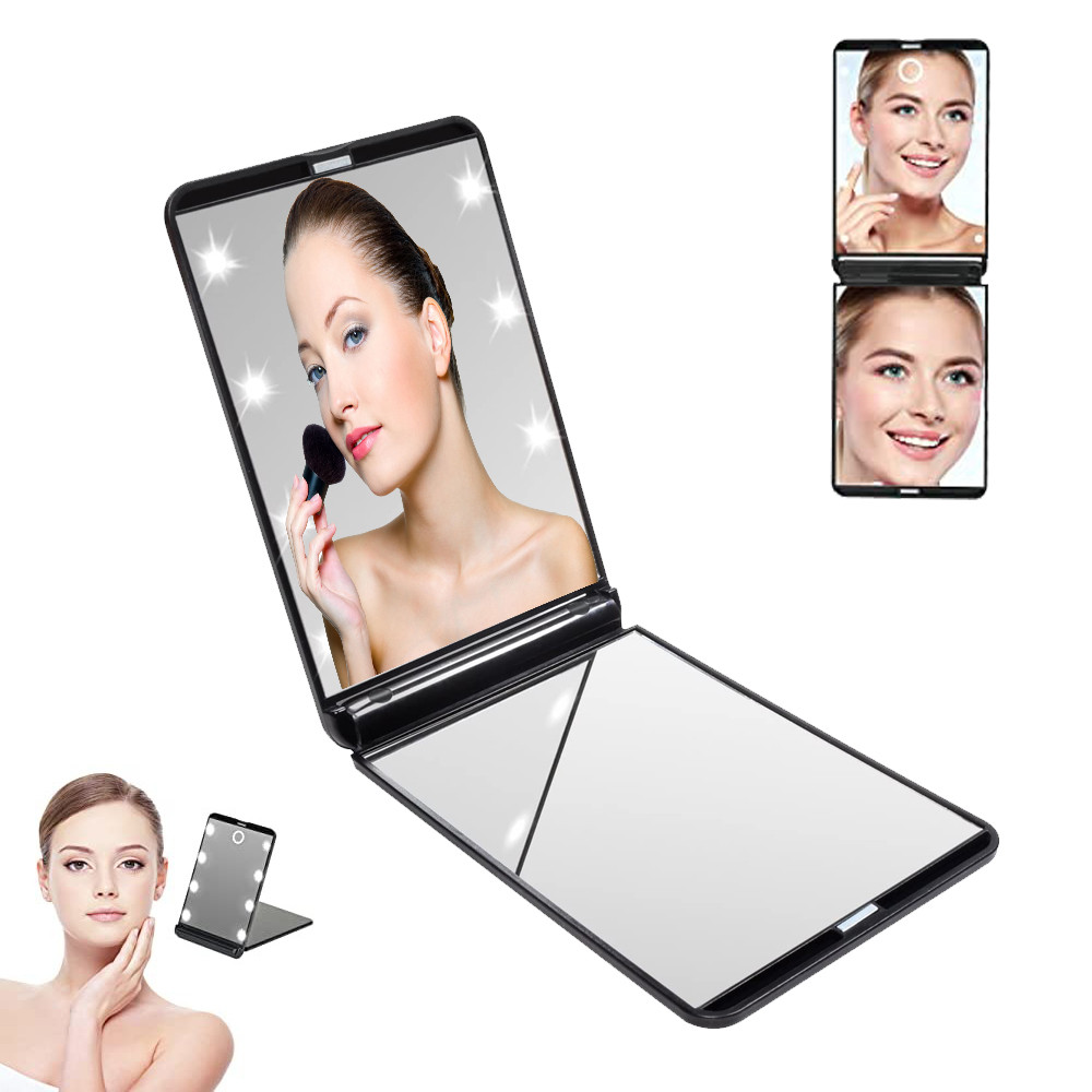 Зеркало карманное дорожное складное с 8 LED подсветкой мини зеркальце книжка Make ap Mirror черный