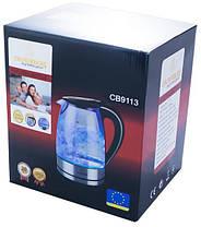 Электрочайник кухонный стеклянный Crownberg CB-9113 2200 Вт 1,7 л / стеклянный чайник с подсветкой, фото 3