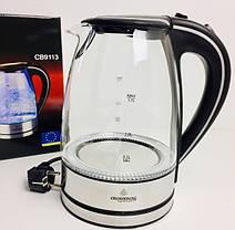 Электрочайник кухонный стеклянный Crownberg CB-9113 2200 Вт 1,7 л / стеклянный чайник с подсветкой, фото 2