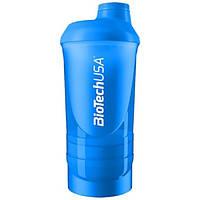 BioTech Шейкер BioTech 600 мл + 2 отсека (200 мл+150 мл), голубой