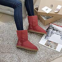 Угги женские яркие красные зимние средние замшевые, фото 1