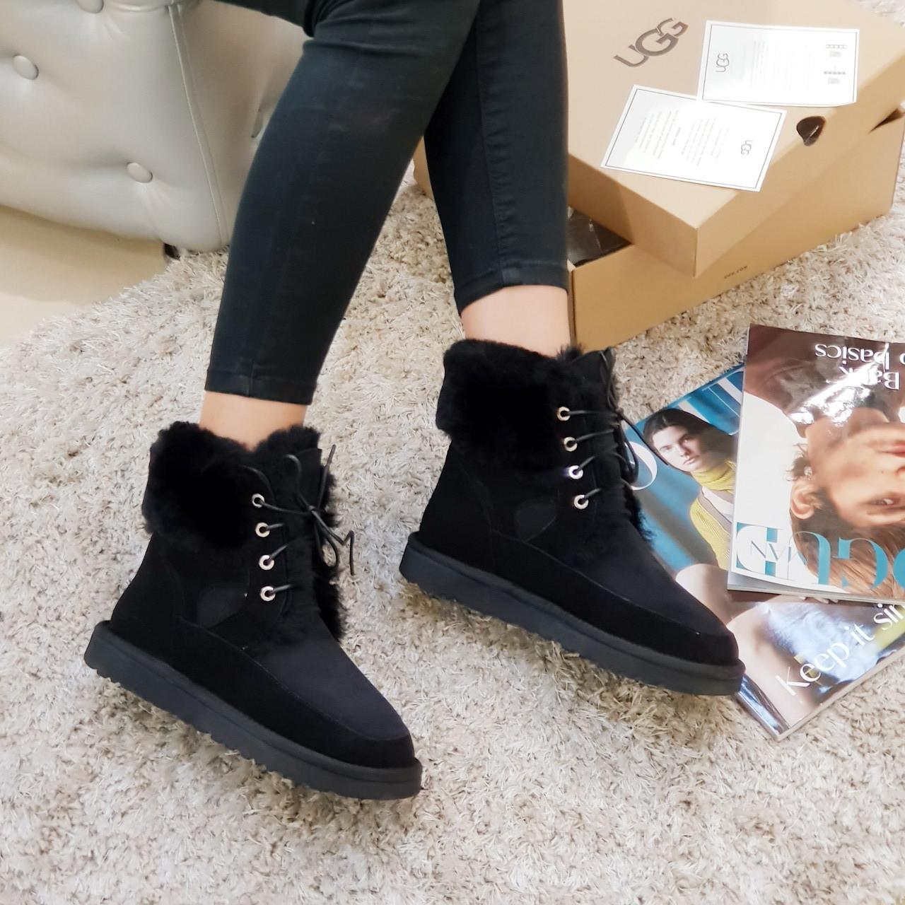 Угги женские на шнурках зимние Ugg ботинки из натуральной замши и овчины черные