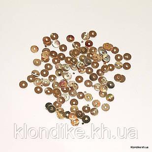 Пайетки Круглые, Голограмма, 4 мм, Цвет: Золото (20 грамм/уп.)