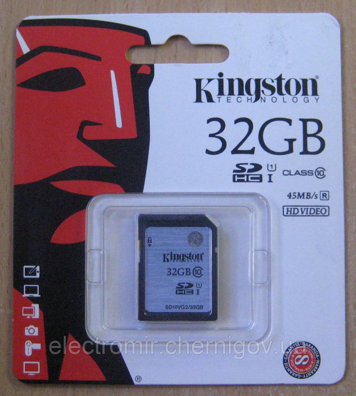 Карта памяти SDHC Kingston 32GB (10 class)