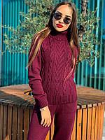 Женский костюм вязаный бордовый, фото 1