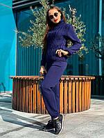 Женский костюм вязаный темно-синий, фото 1