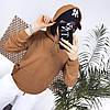 Стильний теплий жіночий батник трикотажний з капюшоном і кишенею-кенгуру р. 42-48. Арт-3313/14