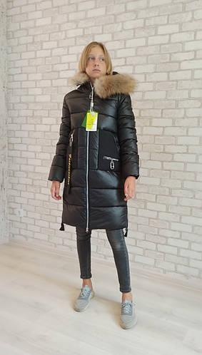 Детское пальто зимнее на флисе, мех натуральный, девочке от Delfin Free 2118   на рост 146-170р.