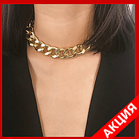 Золотистое ожерелье-цепочка с крупными звеньями