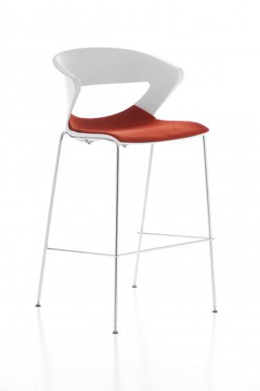 Кресло барное высокое Kicca Италия хром опора белый пластик