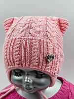 """ОПТ, шапочка для дівчинки, """"Коси"""", для новонароджених, фото 1"""