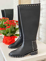 Шкіряні чоботи VALENTINO Soul Rockstud на низькому каблуці (репліка), фото 1