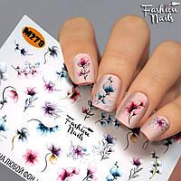Слайдер-дизайн наклейки на ногти для маникюра водные Fashion Nails М278 акварельные цветы