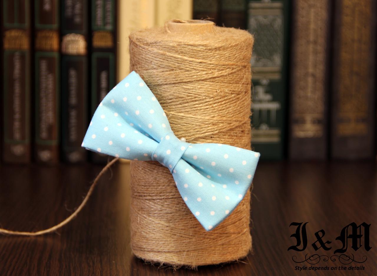 Галстук-бабочка I&M Craft голубой в горошек (010513)