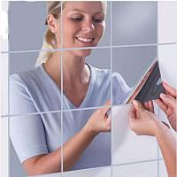 Зеркальные наклейки. Декоративные виниловые интерьерные наклейки на стены. 6 шт.