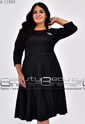 Чорне ошатне жіноче плаття батал Україна Мінова Розміри: 46.48.50.52.54.56., фото 2