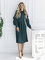 Зеленое осеннее платье с сетчатыми вставкам L 46 размер на осень / Зима / Длинный рукав