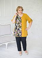 """Блуза легка з штапелю на гудзиках гірчичного кольору навпіл у візерунок """"Листя"""", фото 1"""
