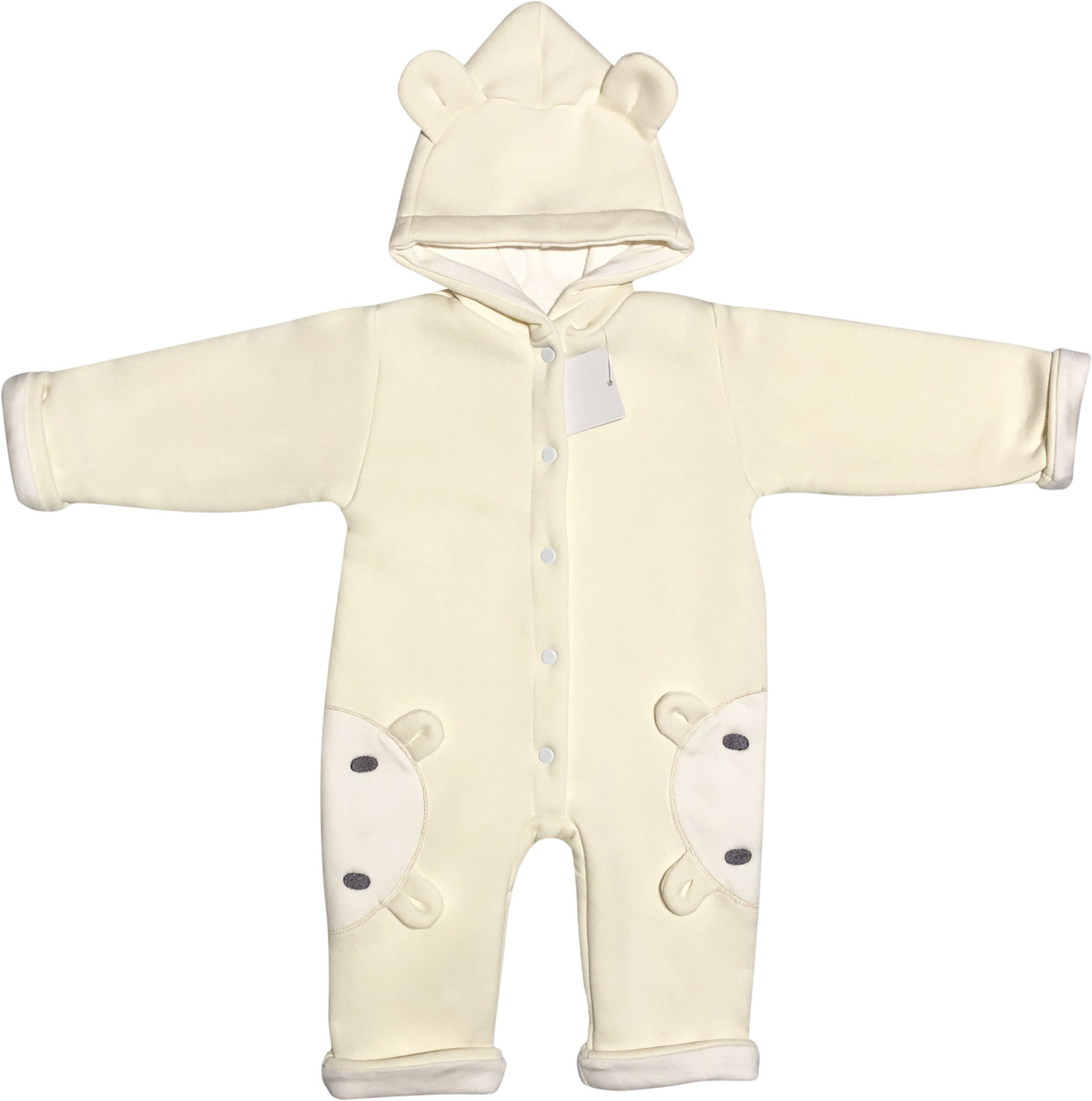 Детский утеплённый человечек с подкладкой рост 62 2-3 мес трикотажный молочный на мальчика девочку слип с капюшоном для новорожденных малышей М700