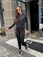 Жіночий спортивний костюм з капюшоном чорний