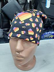 Детская демисезонная шапка для девочек, легкая, трикотажная с принтом Likee, размер 52-54