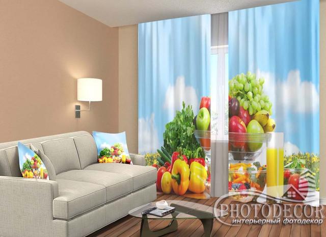 3D Фото Шторы с Фруктами, Овощами, Еда, Напитки