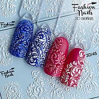 Декор для маникюра наклейка на ногти Fashion Nails водный цветной 3D слайдер-дизайн зима абстракция(3D/45)