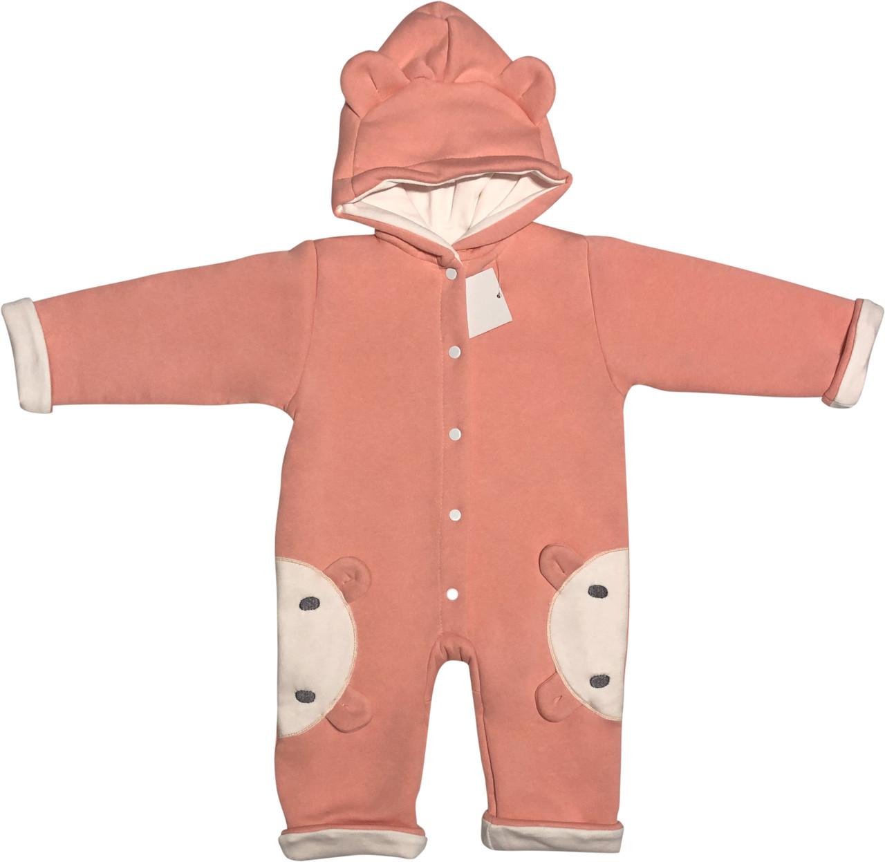 Детский утеплённый человечек с подкладкой рост 74 6-9 мес трикотажный персиковый на девочку слип с капюшоном для новорожденных малышей П700