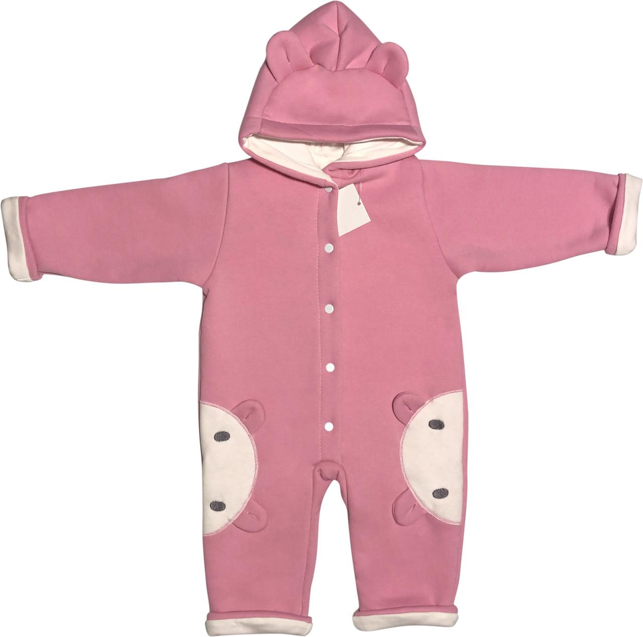 Детский утеплённый человечек с подкладкой рост 74 6-9 мес трикотажный розовый на девочку слип с капюшоном для новорожденных малышей Р700