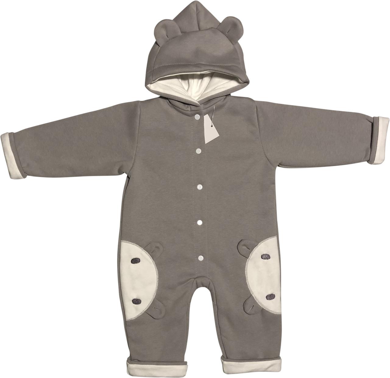 Детский утеплённый человечек с подкладкой рост 74 6-9 мес трикотажный серый на мальчика слип с капюшоном для новорожденных малышей Е700