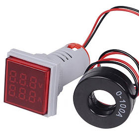 Цифровой амперметр-вольтметр AC переменного тока 100А панельный красный