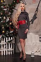 Серое платье из ангоры с карманами