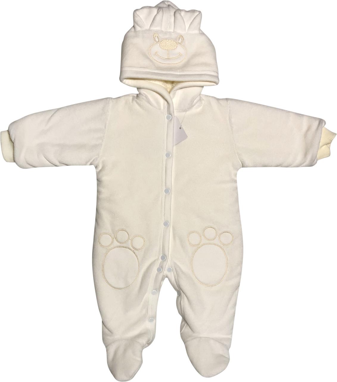 Утеплений чоловічок для малюків ріст 62 2-3 міс на хлопчика дівчинку з підкладкою капюшоном велюровий молочний