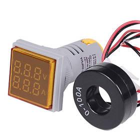 Цифровой амперметр-вольтметр AC переменного тока 100А панельный желтый