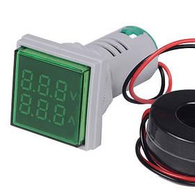 Цифровой амперметр-вольтметр AC переменного тока 100А панельный зеленый