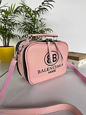 Сумка Balenciaga Apple на два відділення з довгим ремінцем з натуральної шкіри рожева жіноча, фото 2