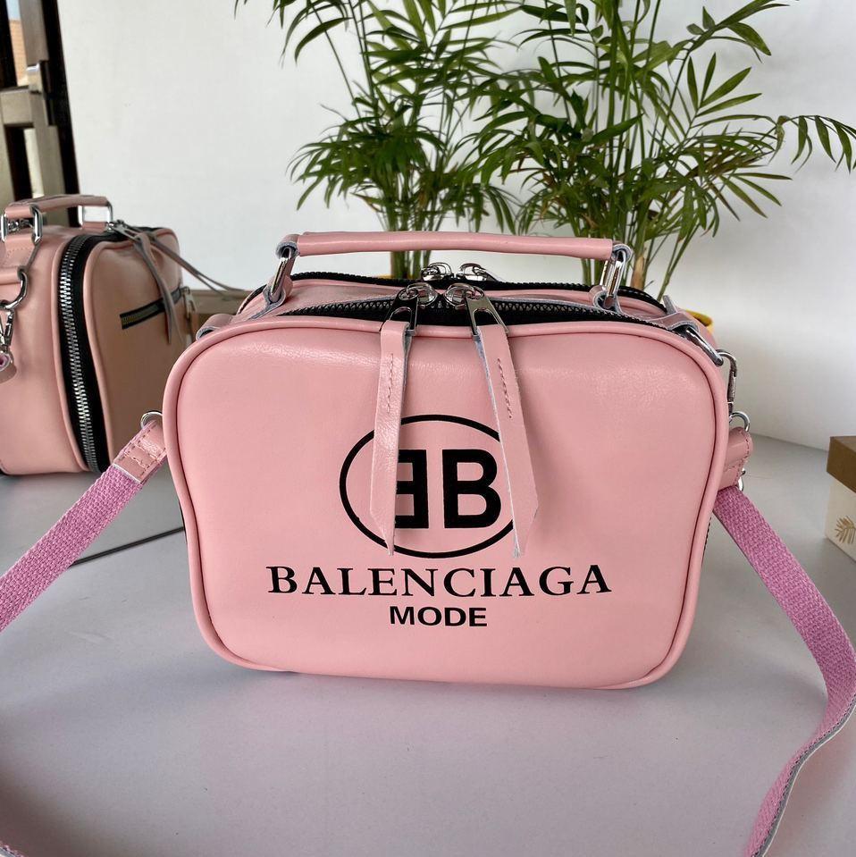 Сумка Balenciaga Apple на два відділення з довгим ремінцем з натуральної шкіри рожева жіноча