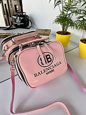 Сумка Balenciaga Apple на два відділення з довгим ремінцем з натуральної шкіри рожева жіноча, фото 3