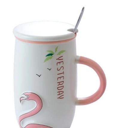 """Чашка з кришкою і ложкою """"Фламінго"""" 450 мл, фото 2"""