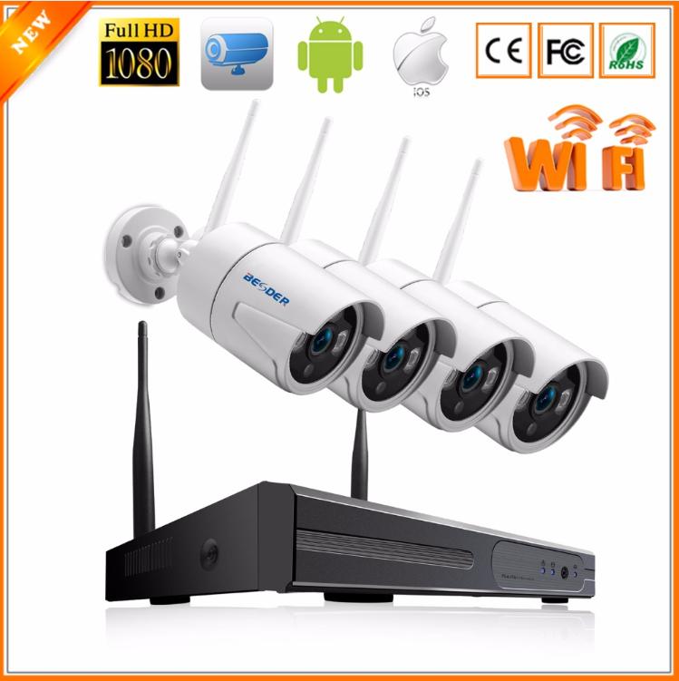 Комплект Wi-Fi IP 4 камеры 720P 1MP видео наблюдения ONVIF с регистратором