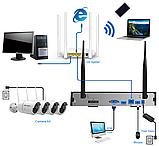 Комплект Wi-Fi IP 4 камеры 720P 1MP видео наблюдения ONVIF с регистратором, фото 4