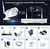 Комплект Wi-Fi IP 4 камеры 720P 1MP видео наблюдения ONVIF с регистратором, фото 7