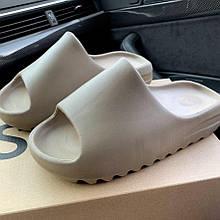 Шлепки летние женские  Adidas Yeezy  Earth Brown бежевые (top replic)