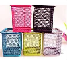 """Подставка для ручек металлическая сетка DSCN3545_С """"Квадратная"""" 8*8*9,5см цветная(роз,син,салат,голуб)"""