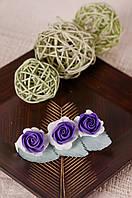 Заколка для волос 10 см бело-фиолетовые цветы из фоамирана