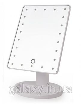 Настольное зеркало для макияжа с подсветкой 22 LED сенсорное белое