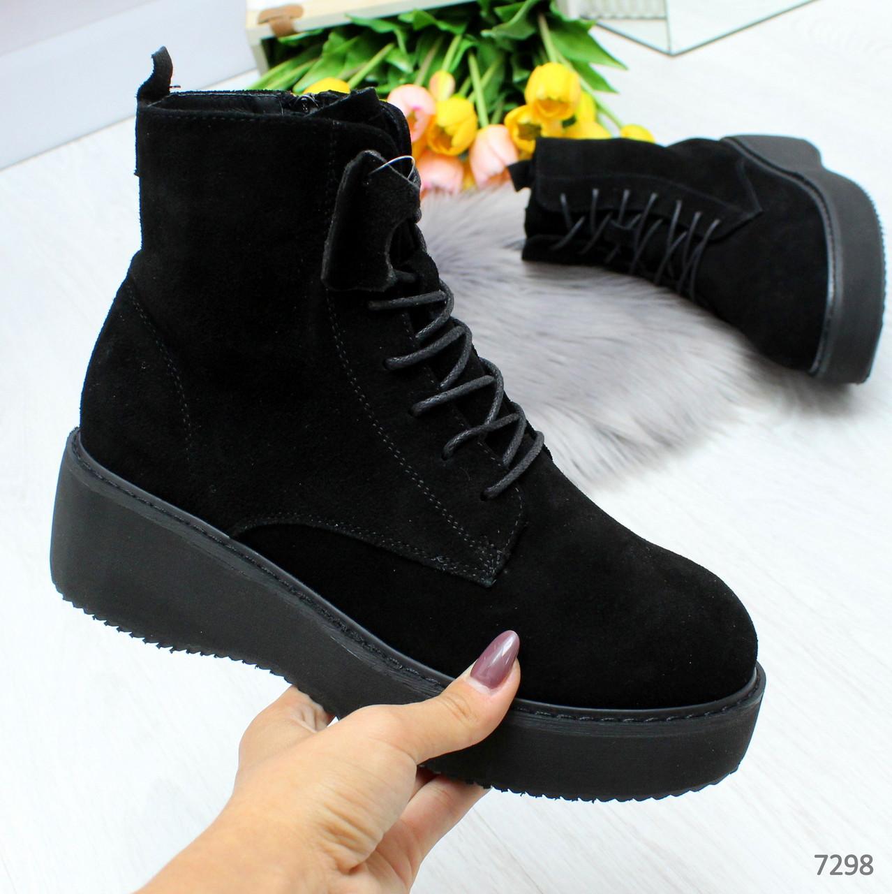 Высокие черные замшевые удобные ботинки из натуральной замши