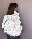 Куртка для девочки светоотражающая из рефлективной ткани подростковая с голографическим принтом Паутинка, фото 4